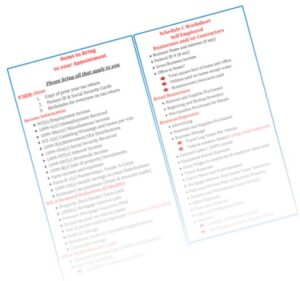 What to Bring Tax Questionaire